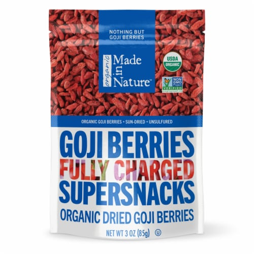 Made in Nature Organic Dried Goji Berries Perspective: front