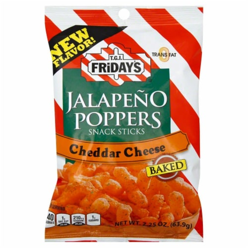 TGIF Jalapeno Poppers Snack Sticks Cheddar Cheese Perspective: front