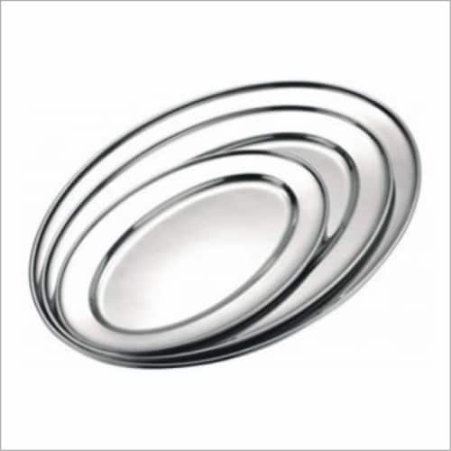 Star Dist 2368 22 in. Stainless Steel Oval Tray Perspective: front