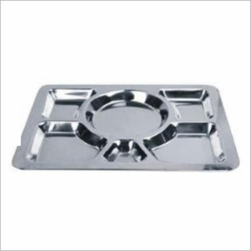 Star Dist 82138 15.75 x 11.81 in. Stainless Steel Mess Tray - 6 Section Perspective: front