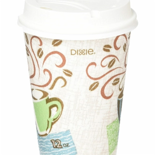 Solo Cup FSX120029PK 12 oz Poly Paper Hot Cups with Lid, White - 50 Per Pack Perspective: front