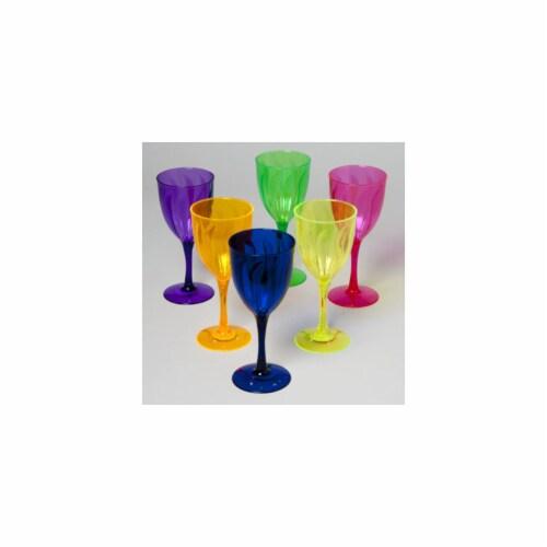 DDI 1851760 Translucent Colored Plastic Wine Glass Case of 48 Perspective: front