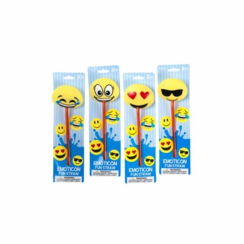 DDI 2319531 Emoticon Fun Straws, Yellow - Case of 24 Perspective: front