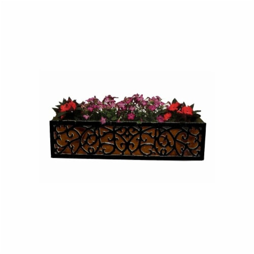 BOSMERE F951 36 in. Charleston Planter - 9 in. wide x 9.5 in. high BLACK with Brown Coco Line Perspective: front