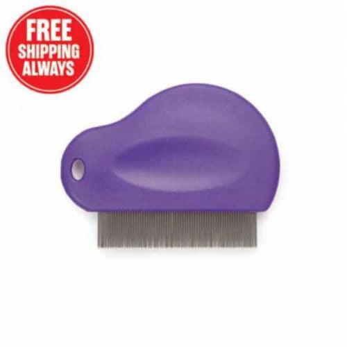 MG Contoured Grip Flea Comb Purple Perspective: front