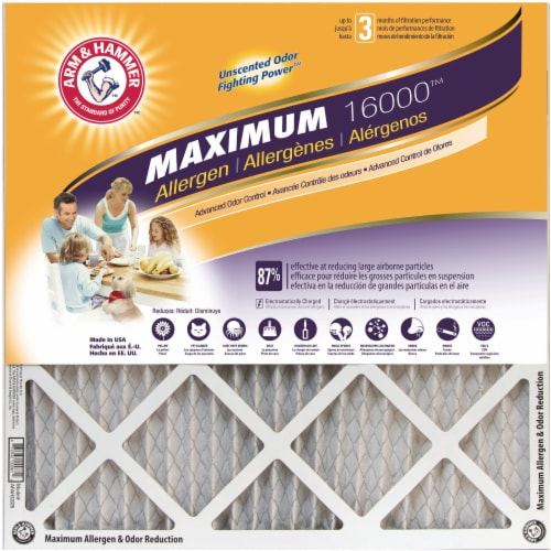 Arm and Hammer Maximum 16000 Allergen Furnace Filter Perspective: front