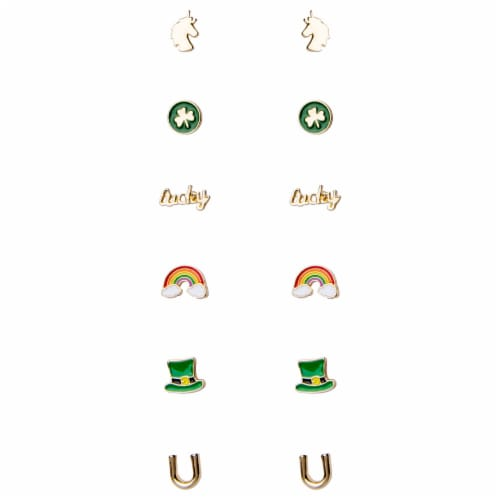 Ampro St. Patrick's Day Stud Earrings Set Perspective: front