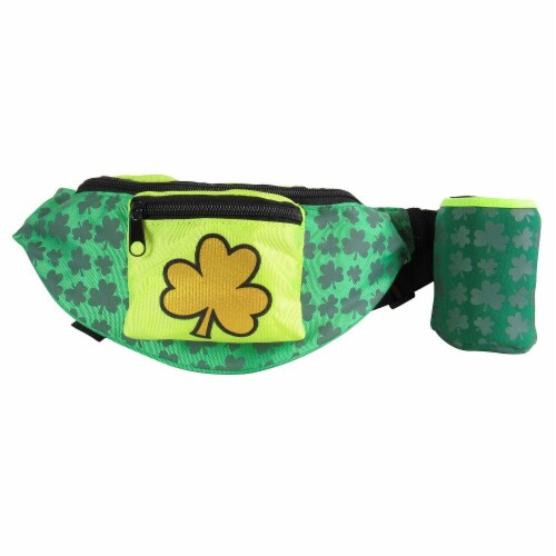 Ampro St. Patrick's Day Fanny Pack with Beverage Holder Perspective: front