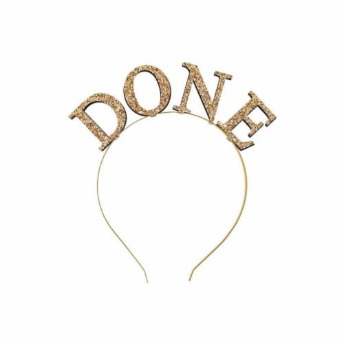 Ampro Glitter Done Graduation Headband - Gold Perspective: front