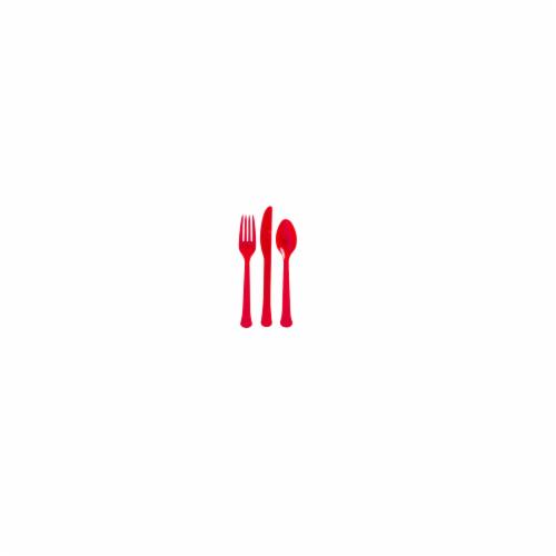 Ampro Patriotic Plastic Utensils - Red Perspective: front