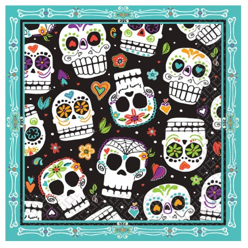 Ampro Day of the Dead Luncheon Napkins Perspective: front