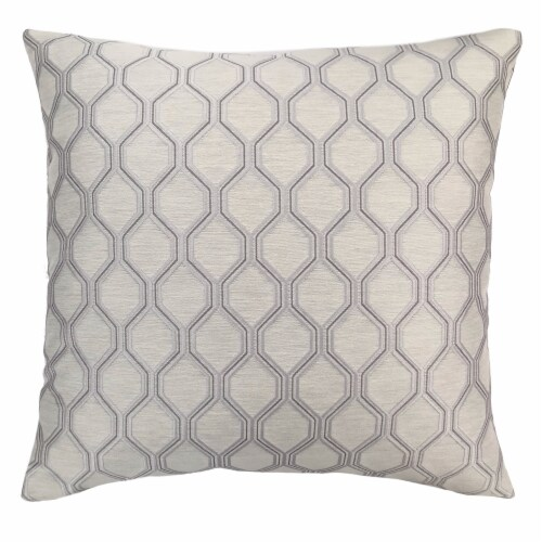 Andante Contemporary Decorative Feather and Down Throw Pillow In Platinum Jacquard Fabric Perspective: front