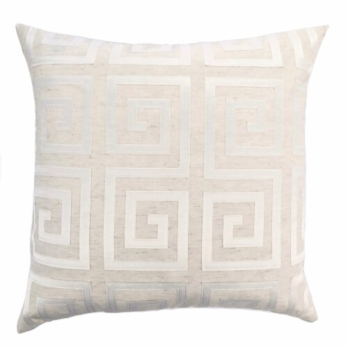 Laguna Decorative Feather and Down Throw Pillow In White Applique Embroidery Fabric Perspective: front