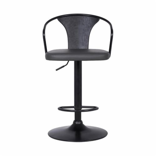 Armen Living Eagle 32 H Faux Leather Adjustable Bar Stool in Black and Gray Perspective: front