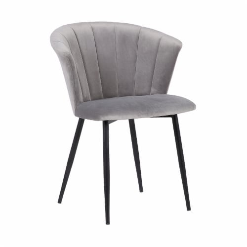 Lulu Contemporary Dining Chair in Black Powder Coated Finish and Grey Velvet Perspective: front