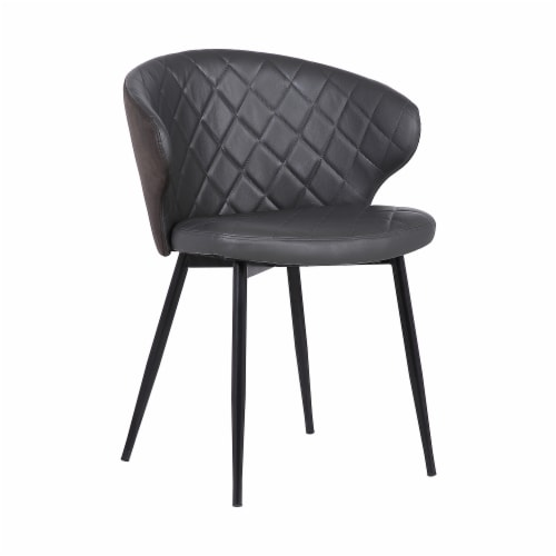 Armen Living Ava Faux Leather Dining Arm Chair in Gray and Black Perspective: front