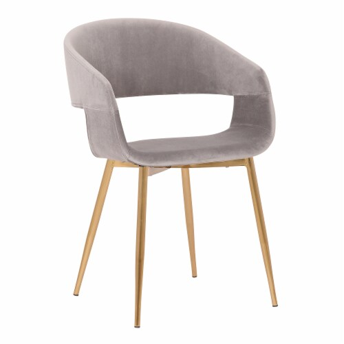 Jocelyn Mid-Century Grey Dining Accent Chair with Gold Metal Legs Perspective: front