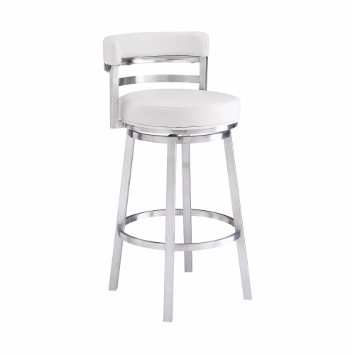 Madrid 26  Counter Height Barstool in Brushed Stainless Steel Finish and White Faux Leather Perspective: front