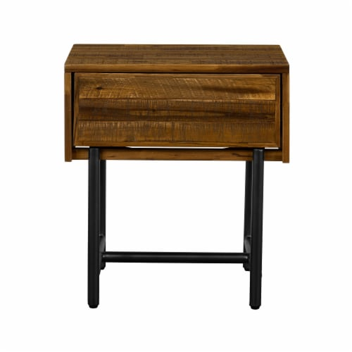 Cusco Rustic Acacia Single Drawer Night stand Perspective: front