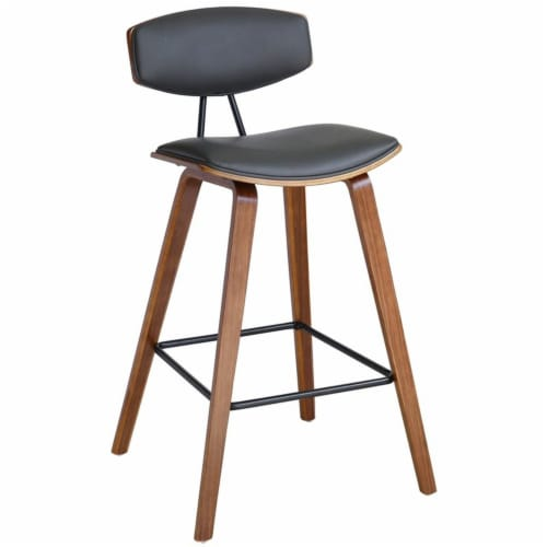 Armen Living Fox 26  Faux Leather Kitchen Counter Stool in Gray and Walnut Wood Perspective: front