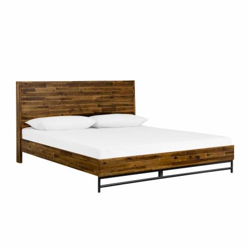Cusco 3 Piece Acacia Queen Bed and Nightstands Bedroom Set Perspective: front