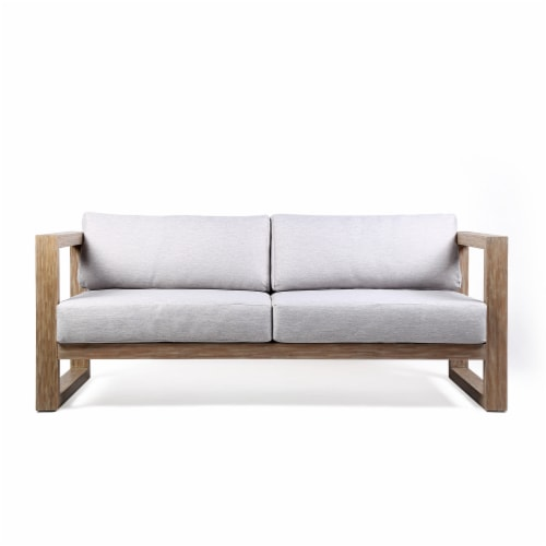 Paradise Outdoor Light Eucalyptus Wood Sofa with Grey Cushions Perspective: front