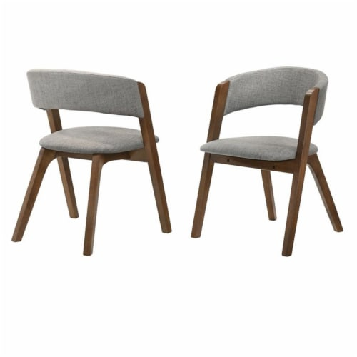 Rowan Grey Upholstered Dining Chairs in Walnut Finish - Set of 2 Perspective: front