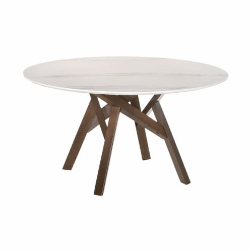 Venus 54  Round Mid-Century Modern White Marble Dining Table with Walnut Wood Legs Perspective: front