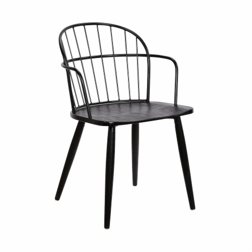 Bradley Steel Framed Dining Room Chair in Black Perspective: front
