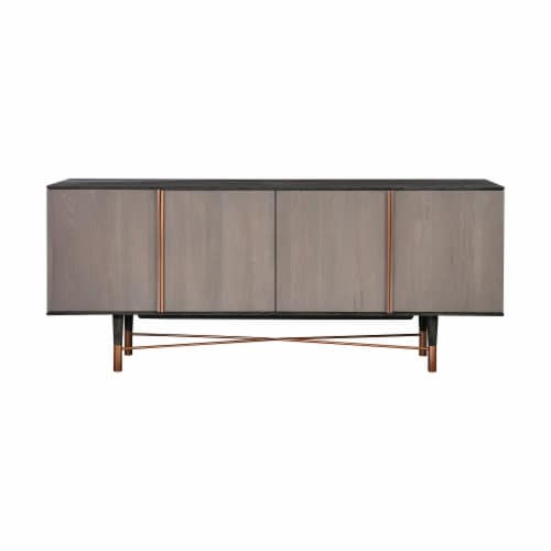 Turin Rustic Oak Wood Sideboard Cabinet with Copper Accent Perspective: front