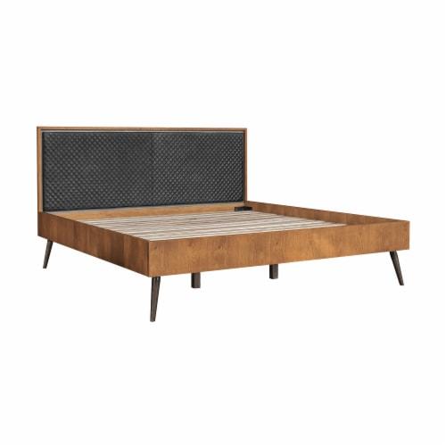 Coco Rustic 3 Piece Upholstered Platform Bedroom set in King with 2 Nightstands Perspective: front