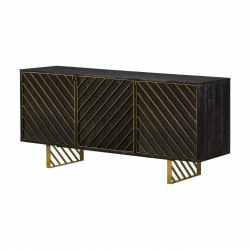 Monaco Rectangular Black Wood Sideboard with Antique Brass Accent Perspective: front