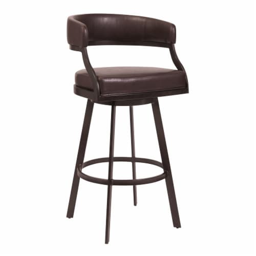 Dione 30  Bar Height Barstool in Auburn Bay and Brown Faux Leather Perspective: front