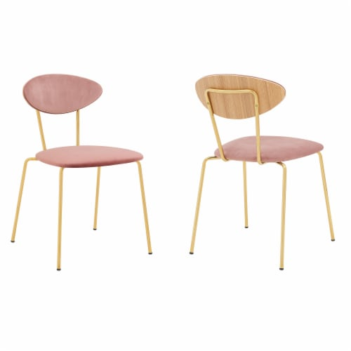 Neo Modern Grey Velvet and Gold Metal Leg Dining Room Chairs - Set of 2 Perspective: front