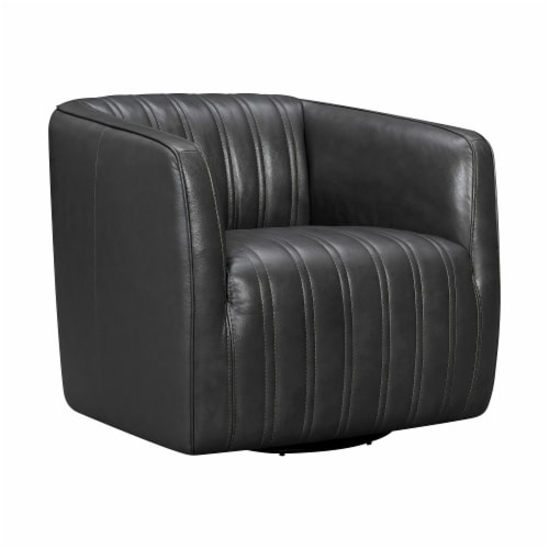 Aries Leather Swivel Barrel Chair Perspective: front