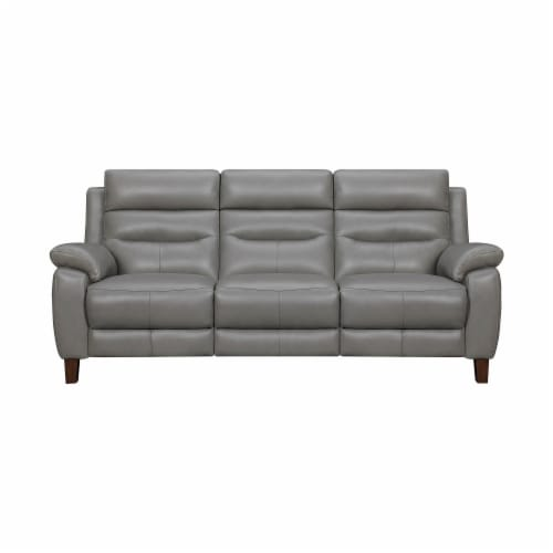 Hayward 82  Dark Gray Leather Power Reclining Sofa Perspective: front