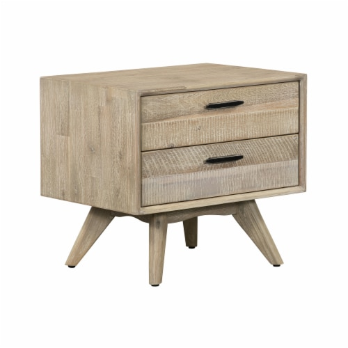 Baly Acacia Mid-Century 2 Drawer Night stand Perspective: front