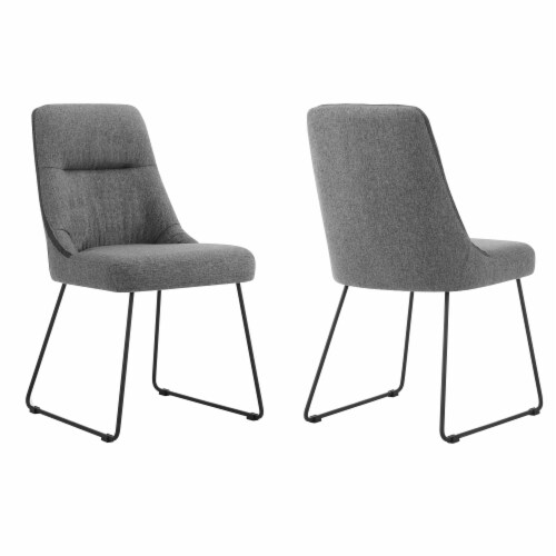 Quartz Gray Fabric and Metal Dining Room Chairs - Set of 2 Perspective: front
