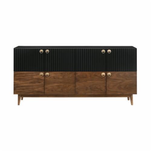 Amigo Black Veneer and Walnut Wood Buffet Perspective: front