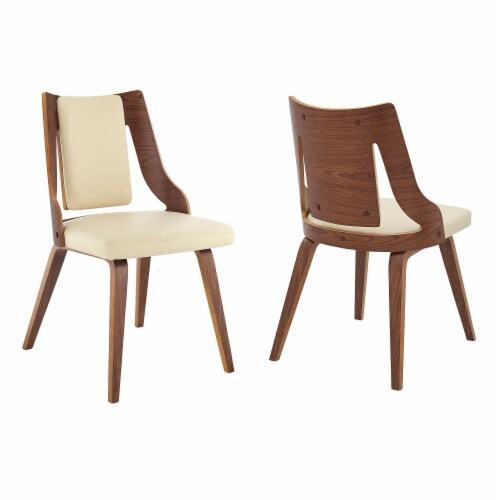 Aniston Cream Faux Leather and Walnut Wood Dining Chairs - Set of 2 Perspective: front
