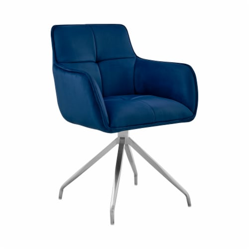 Noah Dining Room Accent Chair in Blue Velvet and Brushed Stainless Steel Finish Perspective: front