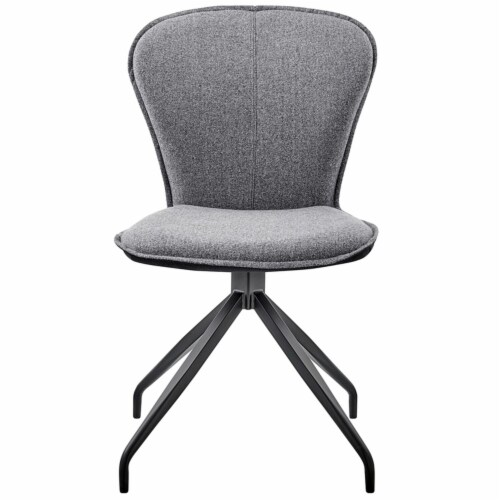 Petrie Dining Room Accent Chair in Grey Fabric and Black Finish - Set of 2 Perspective: front