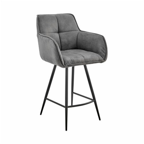 """Verona 26"""" Counter Height Bar Stool in Charcoal Fabric and Black Finish Perspective: front"""