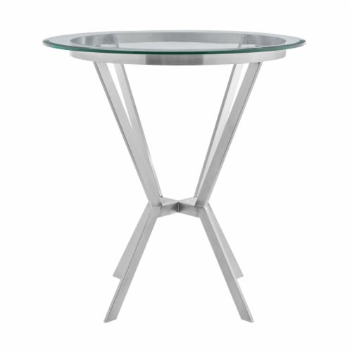 Naomi Round Glass and Brushed Stainless Steel Bar Table Perspective: front