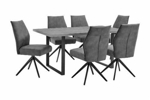 Fenton and Charcoal Monarch 7 Piece Modern Rectangular Dining Set Perspective: front