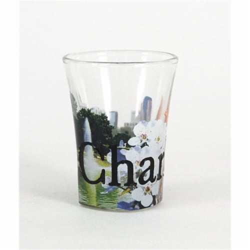 Americaware SGCHR01 Charlotte Full Color  Etched  Shot Glass Perspective: front