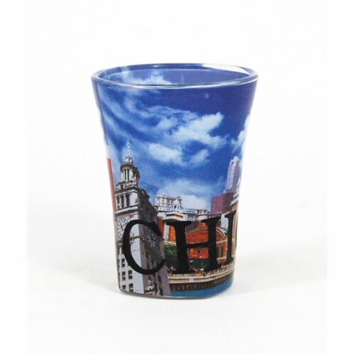 Americaware SGCHI04 Chicago Full Color  Etched  Shot Glass Perspective: front