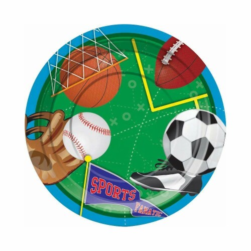 BuySeasons 264809 Sports Party 7 Dessert Plates - 8 Piece Perspective: front