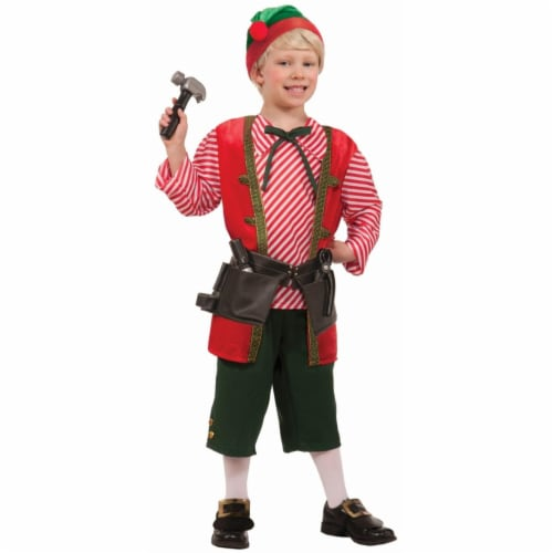 Forum Novelties 402247 Toy Maker Elf Child Costume - Red, Large 12-14 Perspective: front