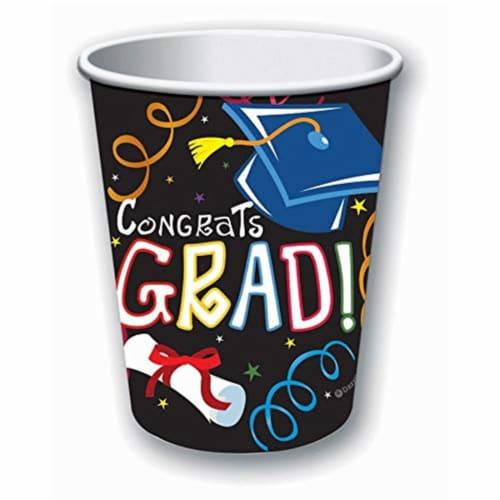 Forum Novelties 308811 9 oz Graduation Paper Cups - Pack of 8 Perspective: front